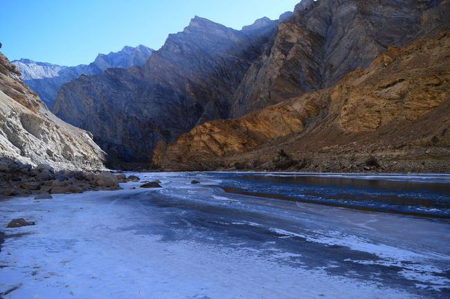 Captured during Chadar Trek 2016 on frozen Zanskar river Frozen River Trekking Chadar Trek 2016 Frozen Frozen Nature Ice Ladakh Mountain Range Mountain River And Sky Mountain View Mountain_collection Mountains Nature Nature_collection Nature Photography Nature_collection Zanskar River Landscapes With WhiteWall Eroded Rugged Mountain Peak Stream - Flowing Water Rock Formation Weather Condition