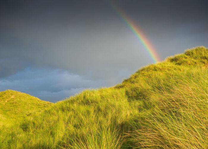 Rainbow over grassy mountains against cloudy sky