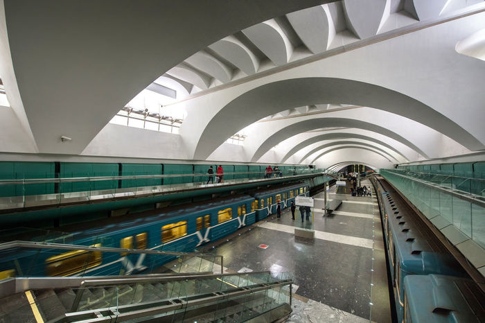 Russia, Moscow, metro, lighting Architecture Business Finance And Industry Commuter Day Indoors  People Railroad Station Railroad Station Platform Russia, Moscow, Metro, Lighting Subway Train Transportation Travel Travel Destinations