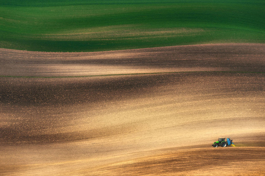 Farming tractor plowing and spraying on field. Small blue tractor working on a colorful spring field.Agriculture tractor cultivating field and creating abstract background texture Chiaroscuro  Chiaroscuro Gallery Cultivated Land Czech Republic Desert Europe Farmland Field Fieldscape Forms And Colors Forms And Shapes Harvesting Landscape Lines Lonely Outdoors Rural Landscape Rural Scene Rural Scenes Sand Shadows & Lights Sowing Sowing Seeds Springtime Tractor