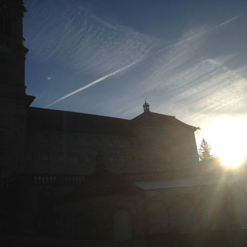 Sunrise above the monastery Einsiedeln.