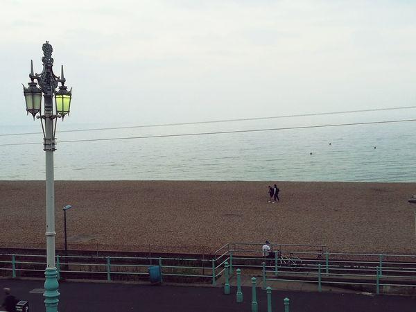 Brighton Sunset Lamp Post Night Lights Night Lamp Brighton Beach Beach Walk Water Sea Full Length Sky Horizon Over Water Coast Coastline Calm Ocean Pebble Beach