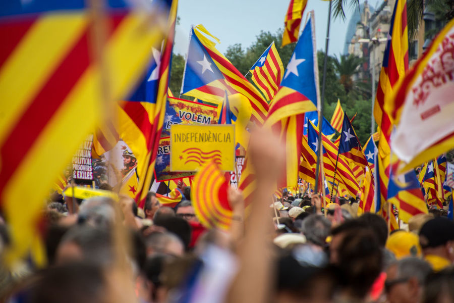 Diada 2018. Catalan demonstration in Barcelona. Diada Diada2018 11setembre Catalan Catalonia Catalunya Independence Day Demonstration Estelada Flag Flags In The Wind  Group Of People Manifestation Outdoors Political Prisoners