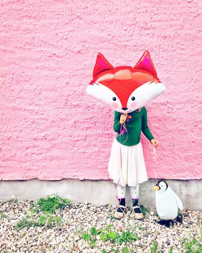 Spending my day with a fox and a penguin! Wish you all a good start!!! Children Only Child Childhood One Person Pink Color Standing Front View Full Length People Day Outdoors One Girl Only Portrait Headwear Halloween Adult Street Photography Goodfeelography IPhoneography Colorful
