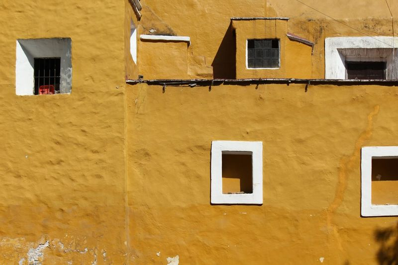 Game of shapes and colors EyeEmNewHere Mexico City Architecture Building Exterior Church Architecture Day No People Ocher Color Windows