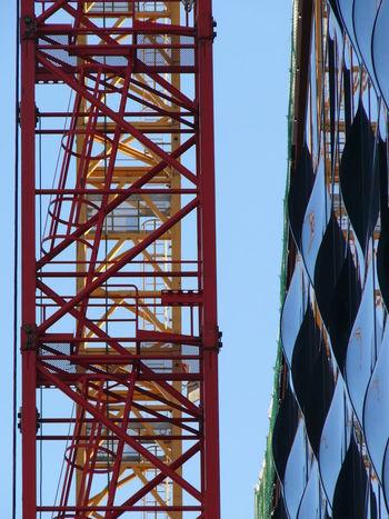 Architecture Blue Building Crane Built Structure Construction Site Elbe River Glass Hamburg Philharmonie Reflection Sky Windows