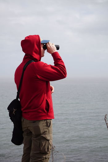 Binoculars Birding Hammonasset Beach Leisure Activity Looking Madison, Connecticut One Person Outdoors Real People Sea Standing Watching Water