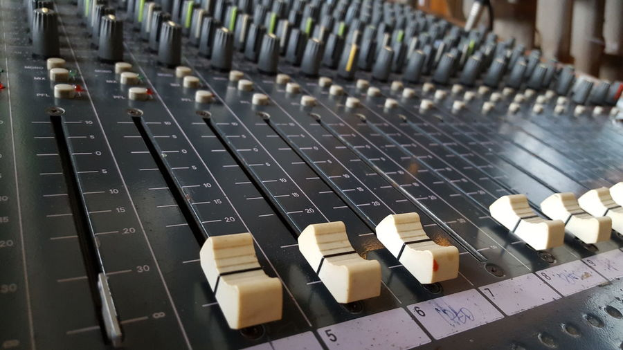 High Angle View Of Sound Mixer In Recording Studio