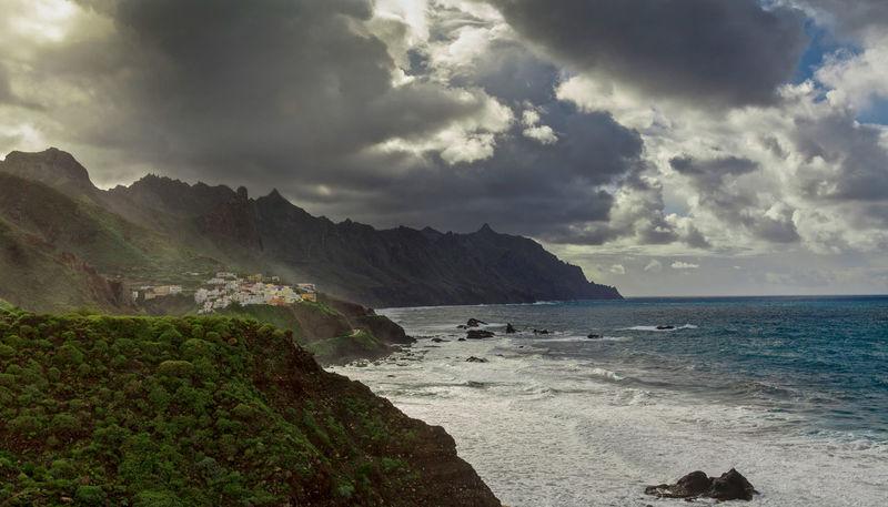 Atlantic Benijo Clouds Green Mountains Ocean Sky Sunset Tenerife Teneriffa Vilage Waves