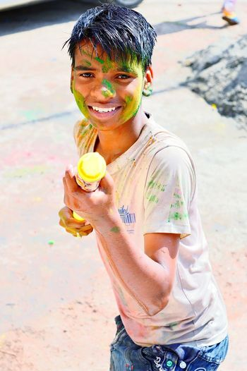 He Tries To Shoot With Me His Water Gun Then I Put My Gun In Front Of Him N Shoot Him In My Camera Holi Colours Indian Festival () :-) :-*
