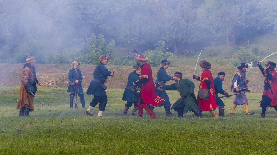 Historical Reconstruction Historical Reenactment Reconstruction Group Soldiers Battle Fencing Large Group Of People Outdoors People Real People Saber Weapons