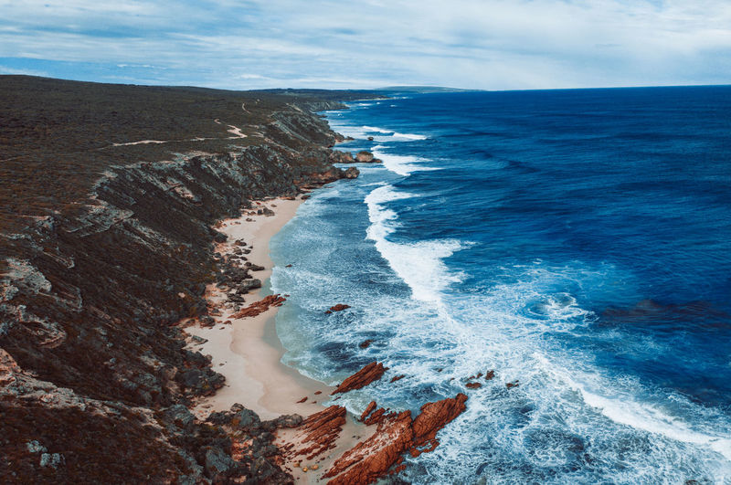 Aerial image of a perfect surfing spot in yallingup. western australia