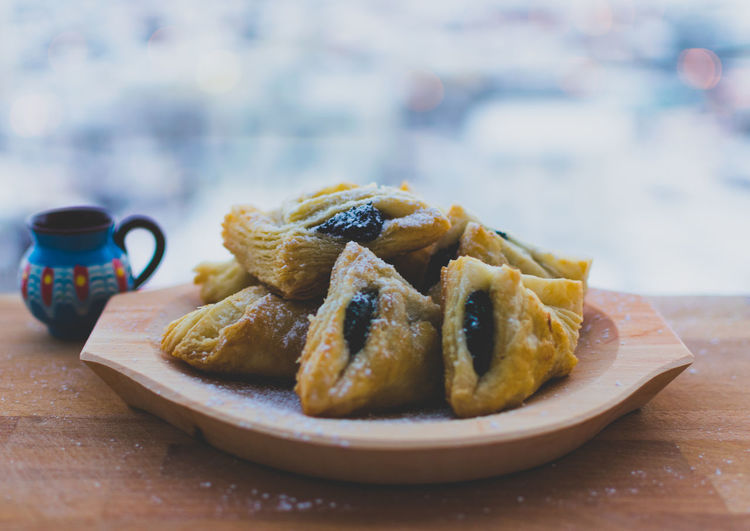 Haoise. Traditional Romanian dessert, made with homemade puff pastry and plumb marmalade. Close-up Day Dessert Focus On Foreground Food Food And Drink Freshness Healthy Eating Indoors  No People Plate Ready-to-eat Sweet Food Table Traditional Winter First Eyeem Photo