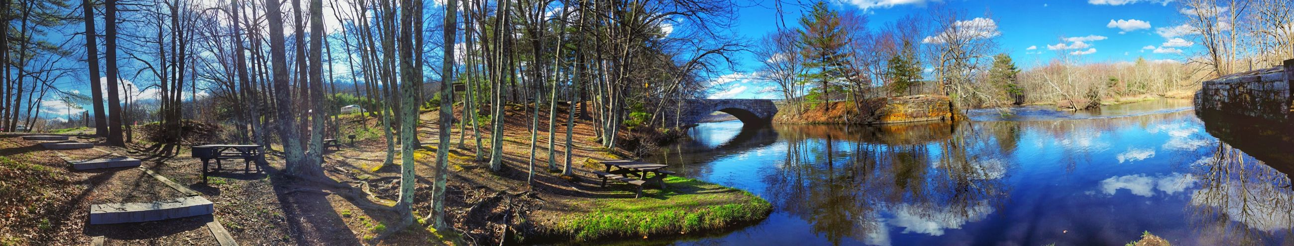 Panoramic View of the Blackstone River & Canal Heritage Corridor State Park Plant Tree Water Nature Reflection No People Day Panoramic Blue Sunlight Tranquility Beauty In Nature Tranquil Scene Scenics - Nature Sky Outdoors Growth