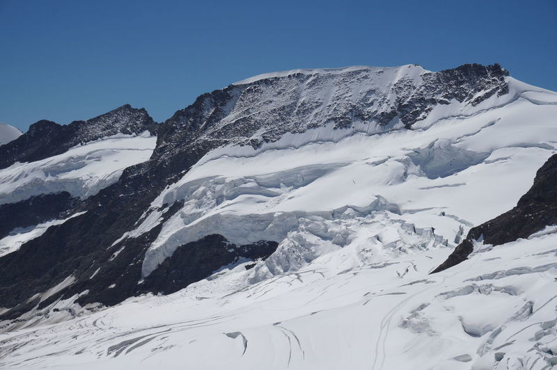 Jungfrau - Top Of Europe Alps Switzerland Beauty In Nature Blue Clear Sky Cold Temperature Day Frozen Jungfraujoch Landscape Low Angle View Mountain Mountain Range Nature No People Outdoors Scenics Sky Snow Snowcapped Mountain Tranquil Scene Tranquility Weather White White Color Winter