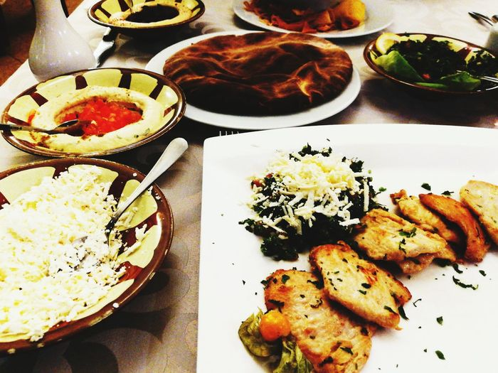 Hummus Arabian Food Arabic Food Food And Drink Foodporn Foodphotography Pita Goat Cheese Chiken Tabouleh Table Arrangements Food On Plate Plate Plate Table Variation Bowl Close-up Food And Drink