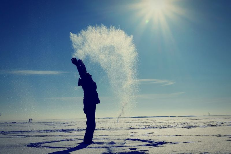 Frozen lake!!! Frozen Lake Water Leisure Activity Beach Real People One Person Nature Sky Motion Full Length Outdoors Sunlight Standing Lifestyles Beauty In Nature Men Day