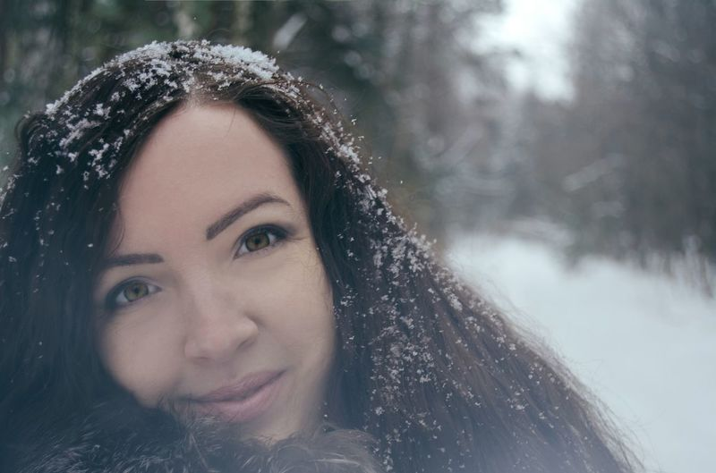 Winter Portrait Beauty In Nature Long Hair Exceptional Photographs Beautiful People Beauty Portrait From My Point Of View By Ivan Maximov Open Edit Freshness Smile Cold Temperature Weather Eyeem Photo Winter Nature White Time Girl Portrait Adults Only Young Adult Tranquility Faces Of Winter Snow On Hair Snowflakes