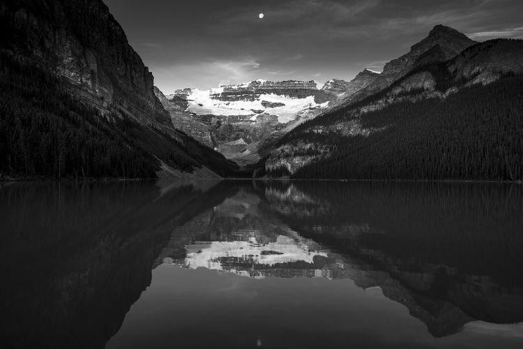 Calm morning reflection - Lake Louise, Banff thefox.smugmug.com  Banff  Banff National Park  Beauty In Nature Black And White Photography Lake Louise  Landscape Mountain Nature Photography Reflection Reflection Scenics Snow Tranquil Scene Tranquility Travel Destinations Water