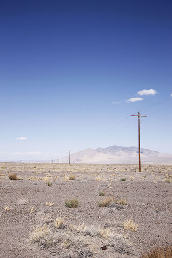 Desert Electricity Pole Emptiness No People Outdoors Sky Vast