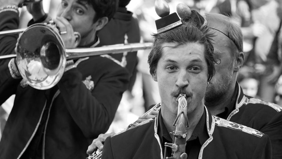 Arts Culture And Entertainment Band Close-up Fanfare Music Musician Outdoors Playing Real People Two People Wind Instrument