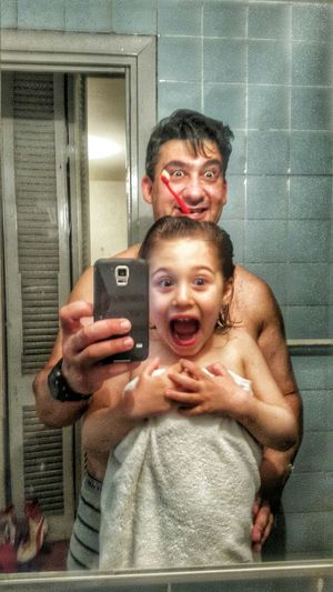 My Dad My Little Girl Having Fun Time To Bed .... Toothbrush Little Girl My Daughter Mirrorselfie Mirror Dad Father And Daughter My Little Princess