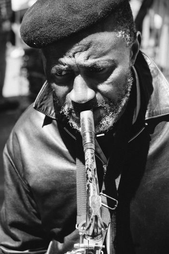 The Troubled Busker Adult Anguish Beret Blackandwhite Busker Close-up Human Lifestyles Looking Down Melancholy Men Music Old Man One Person Passion Pressure Real People Sax Soul Streetphotography Struggle