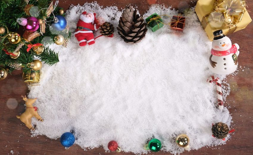Directly above shot of christmas decorations on snow