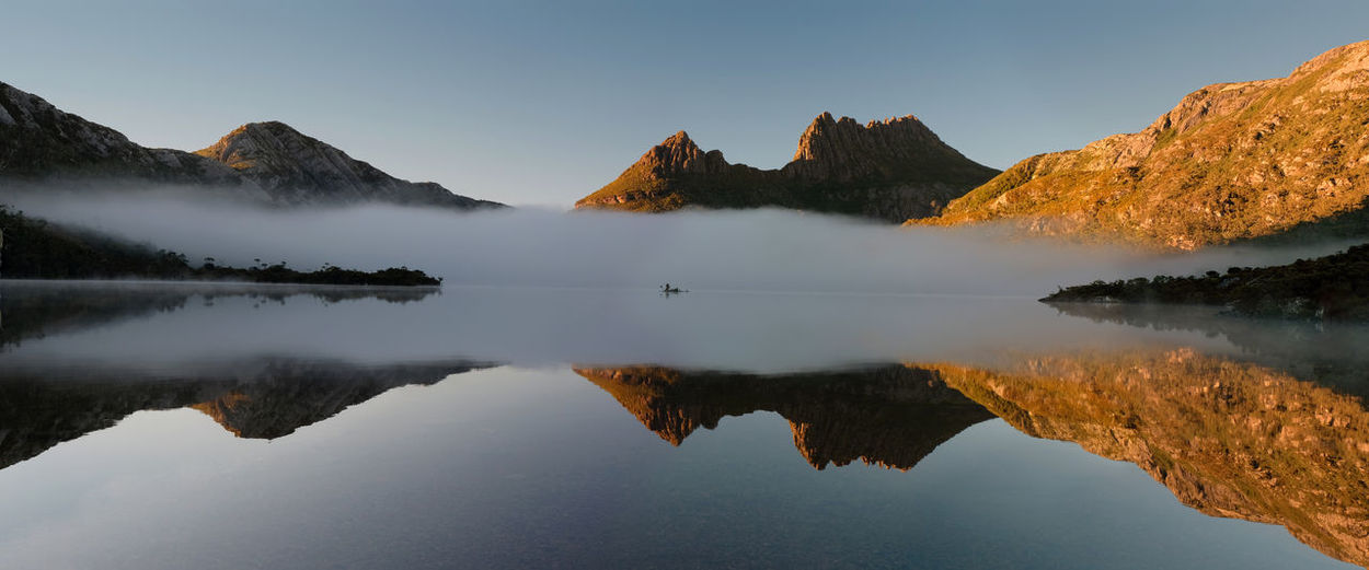 Cradle Mountain-Lake St Clair National Park Morning Light Beauty In Nature Clear Sky Copy Space Idyllic Lake Mountain Mountain Range Nature No People Non-urban Scene Reflection Reflection Lake Scenics - Nature Sky Standing Water Symmetry Tranquil Scene Tranquility Water Waterfront My Best Travel Photo
