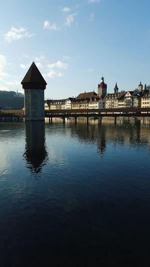 Lucerne Kappelbrücke Beautiful Day Water Reflections Lake Lucerne