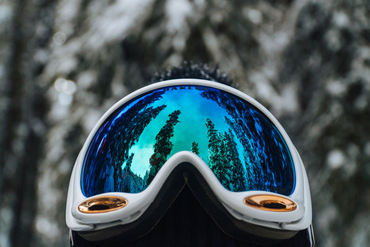 Close-up of ski goggles