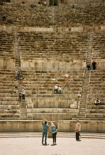 Roman Theatre Group Of People Staircase Real People Men Architecture High Angle View Adult