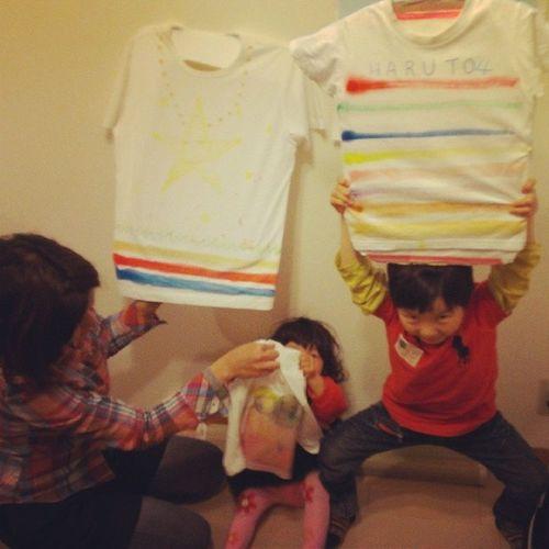 親子の出張ワークショップをモニターでさせて頂きました。 親子教室 Tシャツ クレヨン Tshirts handmade 手作り mother diy