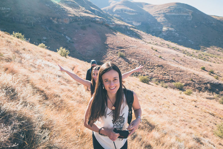 Fun Hiking The Great Outdoors - 2018 EyeEm Awards The Portraitist - 2018 EyeEm Awards The Traveler - 2018 EyeEm Awards Travel Beauty In Nature Casual Clothing Front View Happiness Hike Leisure Activity Lifestyles Looking At Camera Mountain Mountains Nature One Person Outdoors Portrait Real People Smiling Twin Young Adult Young Women