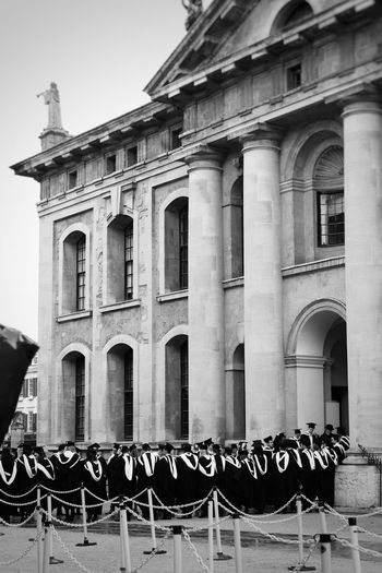 Architecture Building Exterior Built Structure Window In Front Of Transportation Mode Of Transport Building In A Row Architectural Column Stationary Day Outdoors Tourism Arrangement Façade Historic History Sky Order Oxford Oxford Graduation Oxford University