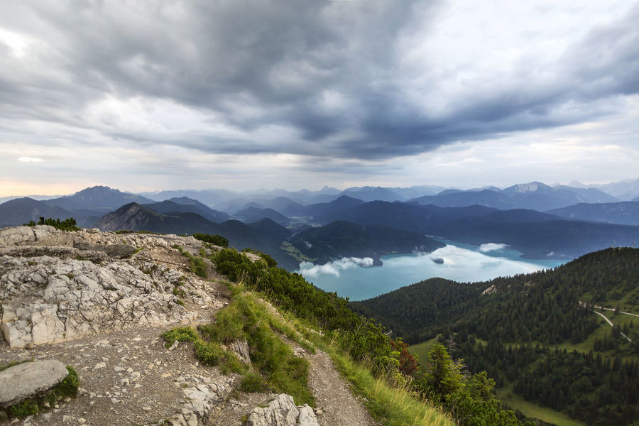 Bavaria Hiking Nature Thunderstorms Tranquility Travel Travel Photography Traveling Bavarian Alps Clouds Clouds And Sky Germany Herzogstand Hike Hikers Kochelsee Landscape Mountain Mountains Thunderstorm Top Of The Mountains Top Of The Rock Tranquil Scene Outdoors Travel Destinations Walchensee