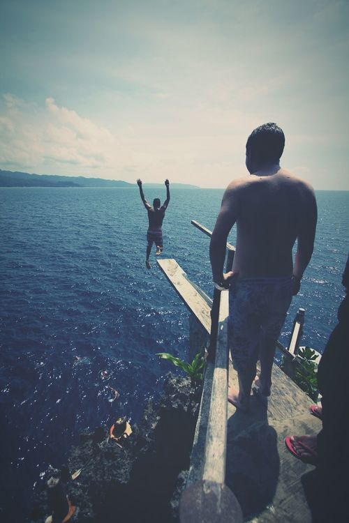 Cliff Diving Sea Getting Away From It All Full Length Carefree Water Freedom Adults Only Outdoors Enjoyment People Vacations Fun Adventure Summer Adult Friendship Leisure Activity Day Men Scenics Sommergefühle