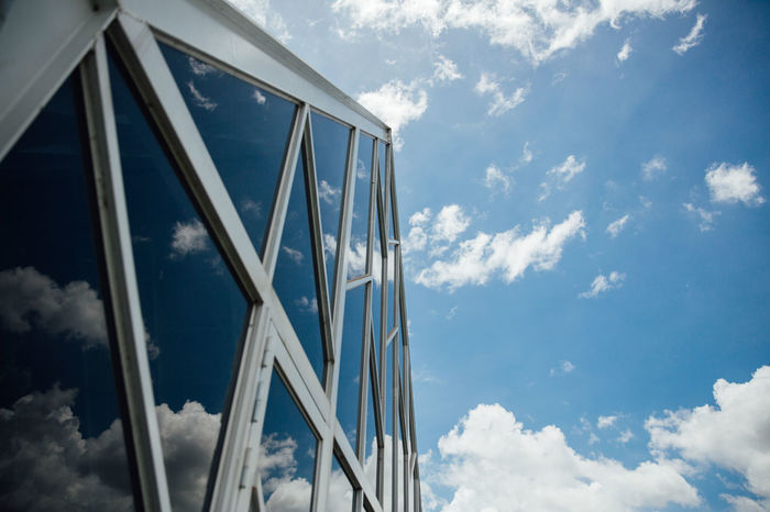 Architecture Blue Blue Sky Building Cafe Garden Glass Glass House Leisure Farm Lines, Shapes And Curves Look Up And Thrive No People Outdoors Reflection Relaxing Simple Simplicity Sky Sky And Clouds Sunny Sunnyday Taiwan Travel Triangle White The Graphic City