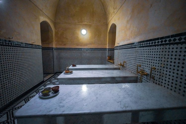 Need a good hammam spa scrub down after the tanneries, trust me, but I opted for a strong massage instead. Travel Destinations Travel Photography Digital Nomad EyeEmNewHere Morocco Fes Morocco Indoors  Architecture Illuminated Lighting Equipment No People Arch Built Structure Flooring Building Metal Absence Day Nature Empty Window Tile Wall - Building Feature Security Food And Drink Ceiling