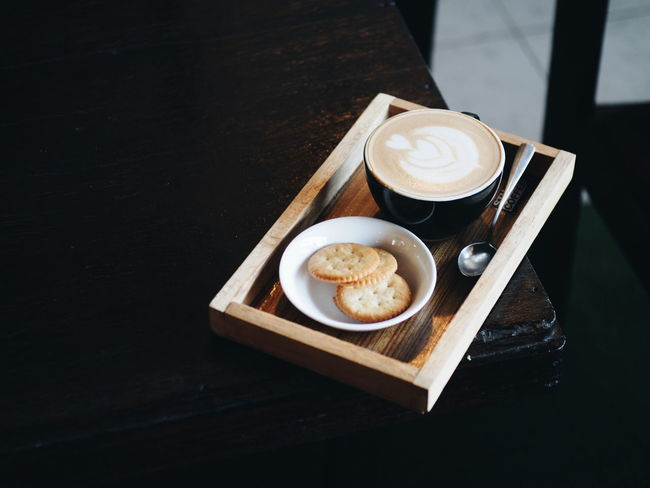 Cafe Wood Coffee Coffee Time Milk Hot Coffee - Drink Coffee Cup Drink Cappuccino Latte Frothy Drink Refreshment Food And Drink High Angle View Table Froth Art No People Coffee Break Indoors  Freshness Cream Sweet Food Food Black Background