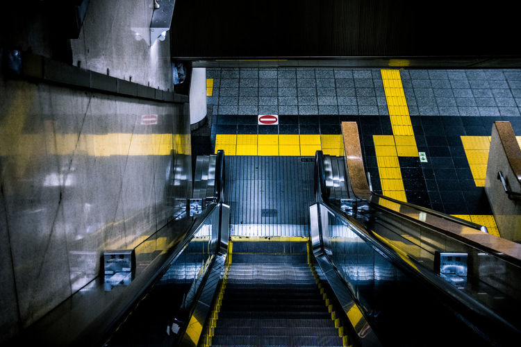 High angle view of empty escalator at subway station