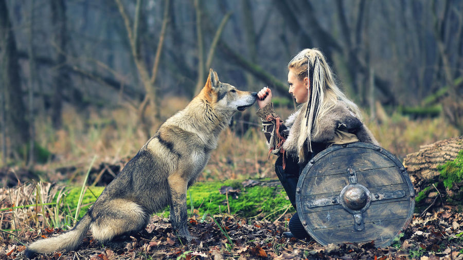 Woman looking at wolf in forest