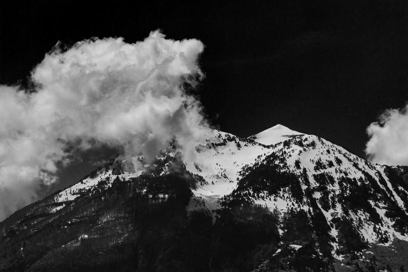 Albania Fine Art Photography Beauty In Nature Blackandwhite Cold Temperature Environment Geology Landscape Mountain Mountain Peak No People Outdoors Physical Geography Power In Nature Scenics - Nature Sky Smoke - Physical Structure Snow Snowcapped Mountain Tranquil Scene Winter