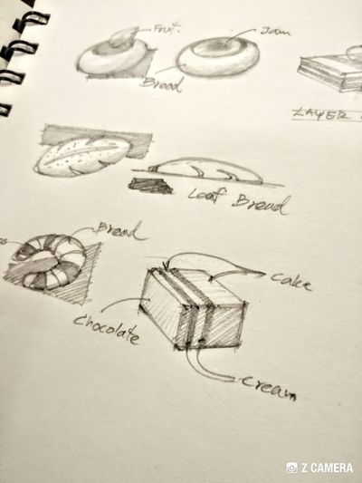 Cake Bakery Style Sketch Handwriting  Text Drawn Doodle Drawing Line Art Drawing - Art Product Drawing - Activity Sketch Pad Pencil Drawing Character