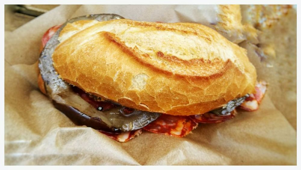 Eggplant & hot salame Sandwich. Panino Break Snack Show Us Your Takeaway! Food And Drink Food Bread Pane No People Freshness Close-up Bun Ready-to-eat Fast Food Day Smartphone Photography
