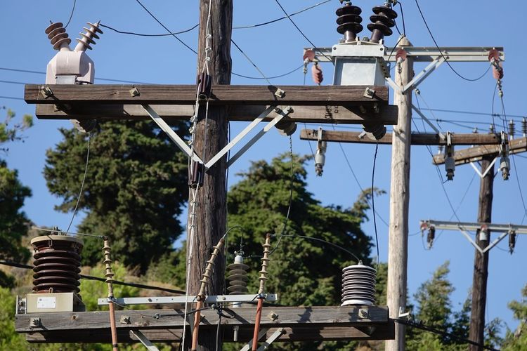 Electricity No People Clear Sky Low Angle View Outdoors Energy Power Cable AMP PICTURES