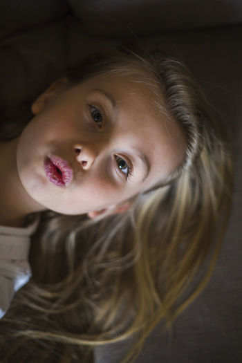 Portrait Looking At Camera Childhood One Person Child Headshot Girls Women Females Real People Indoors  Lifestyles Leisure Activity Hair Blond Hair Close-up Innocence Hairstyle Human Face