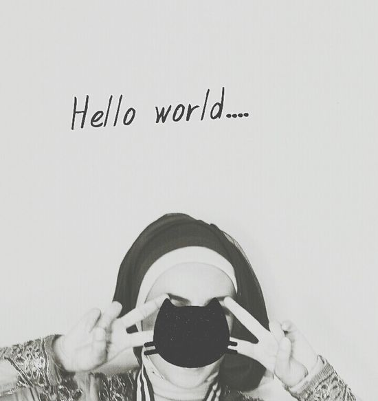 Self Photography Hello World ✌ Black And White Portrait Hijab