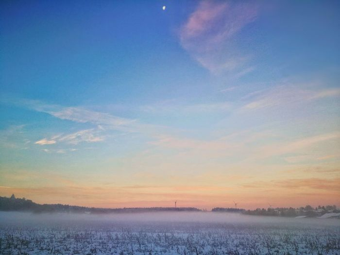 Wintermorning Bavarian Landscape Sunrise Newday Countryside Sunset Cold Temperature Blue Snow Beauty Winter Infinity Foggy