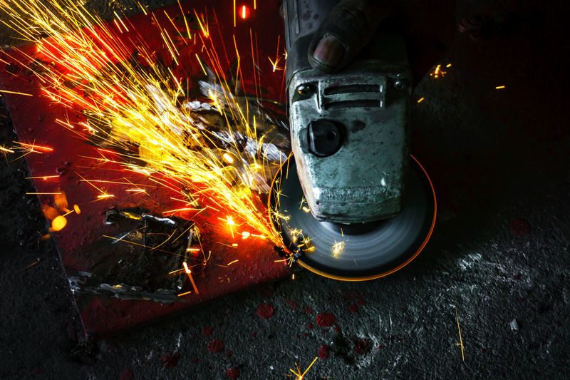 High angle view of machine welding metal
